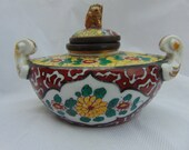 Antique 19th Century PARIS SAMSON Style Porcelain Inkwell Chinese Japanese Style A F