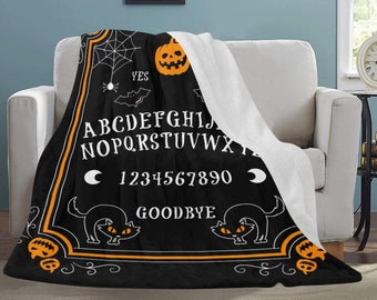 Ouija Board - Gothic home decor - Halloween bedding - Ouija Fleece Blanket In Black - Goth decor - Halloween Blanket - Pumpkin and cat
