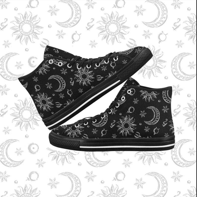 ab7e282ad7599 Pastel Goth shoes - Witch canvas shoes - Pentagram shoes - Wicca sun and  moon - Gothic shoes - Wiccan clothing - Moon shoes