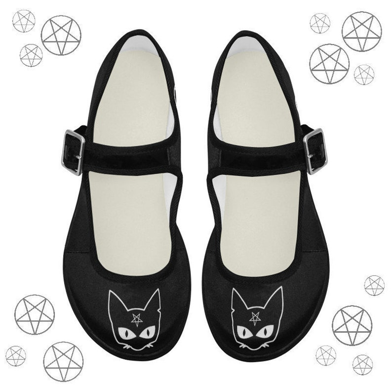 a43e41fdd23c0 Pastel goth shoes - Witch shoes - Cat shoes - Pentagram shoes - Witch  clothing - Witchcraft - Gothic shoe - Ballet shoes - Wiccan clothing