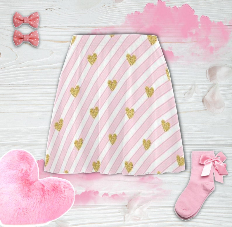 1d1a3b7ca3c74 DDLG skirt - DDLG Clothing - Unicorn pink adult skirt - Ddlg gift - Adult  baby - Abdl - Stripped Heart skirt