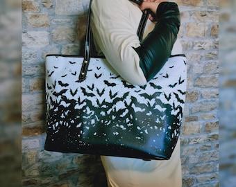 Gothic bag - Bats Tote bag - Goth iPad bag - Halloween tote bag - Goth purse - Bats goth bag - Vegan Leather Bag - Gothic Tote - Witchcraft