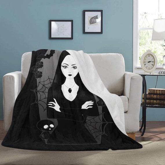 Morticia Addams - Gothic home decor - Gothic bedding - Addams Family Fleece Blanket In Black - Goth decor - Spooky home decor