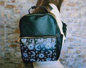 Goth backpack - Witchcraft - Black backpack - Gothic bag - Witch bag - goth girl gift - Moon backpack - Vegan leather backpack