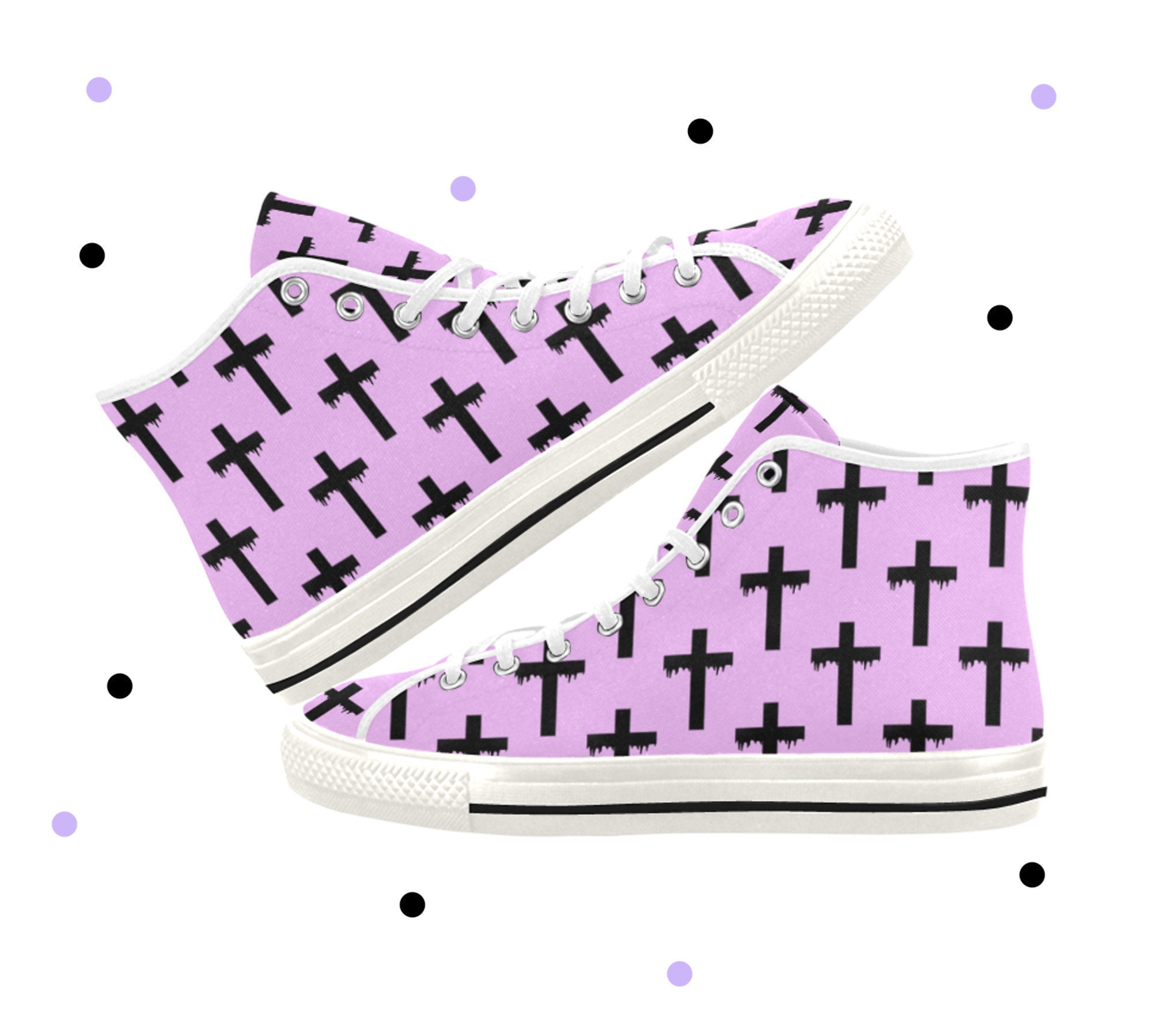 6951d88d3cb97 Pastel goth - Creepy cute - Pastel goth Sneakers - Nu goth - Occult -  Lace-up canvas shoes