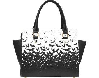 Gothic bag - Bats goth bag - Witchcraft - Gothic purse - Black and white Shoulder Handbag - Vegan Leather bag - Occult bag - Christmas