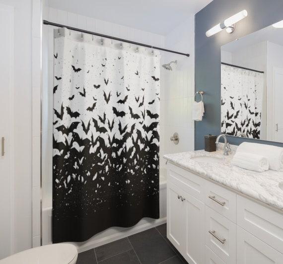 Bat Shower Curtain - Gothic home decor - Goth Shower Curtain - Halloween home decor - Bats decor - Halloween Shower Curtain