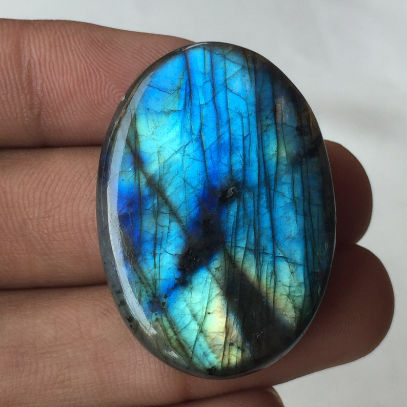 Blue Flashy Labradorite Use For Wire Wrapped Jewelry With Smooth Polish Wholesale Labradorite Loose Gemstone  Oval Shape 39x28x8 MM
