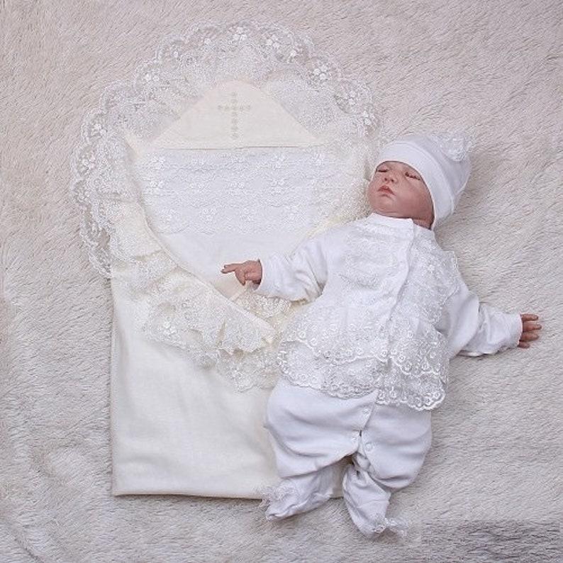 29866d8b77c4 Ivory baptism set baby girl baptism blanket cross