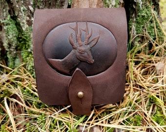 Moose Cartridge Box Holder Brown Leather With Belt Loop Gift 242