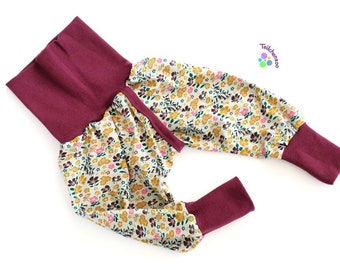 Organic split pants, slit pants, holding pants diaper-free various sizes, dotted lines plum