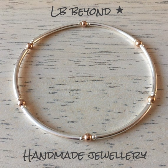 Handmade Sterling Silver /& Rose Gold Noodle Stacking Stretch Bracelet
