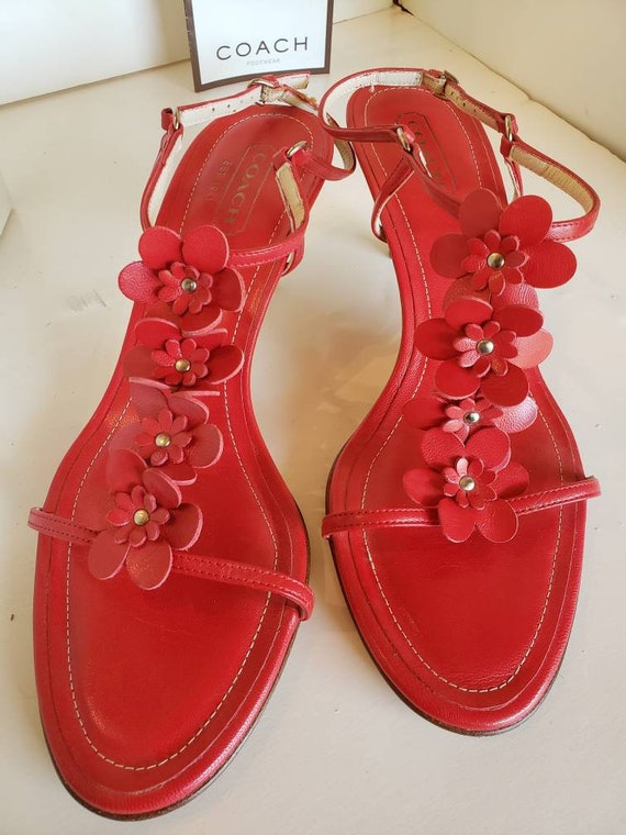 Strappy Red Coach Sandals - image 6