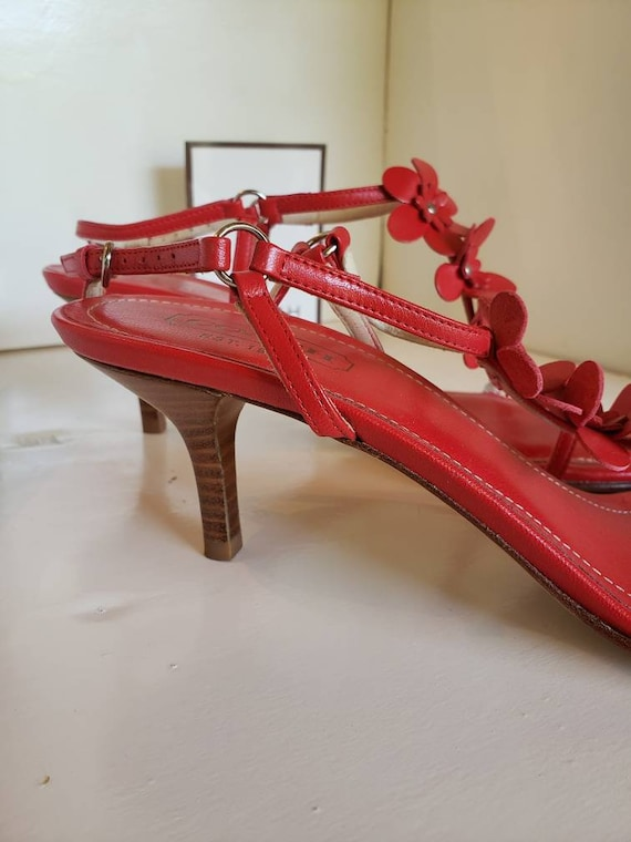 Strappy Red Coach Sandals - image 2