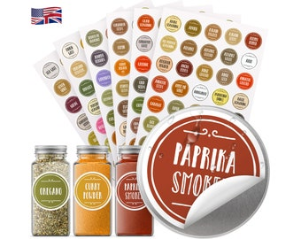 """200+ Quick-find Spice Jar Labels Stickers Preprinted Waterproof Round 1.5"""" (38mm) + Write-on Labels; Gift; FREE Fast Shipping Worldwide!"""