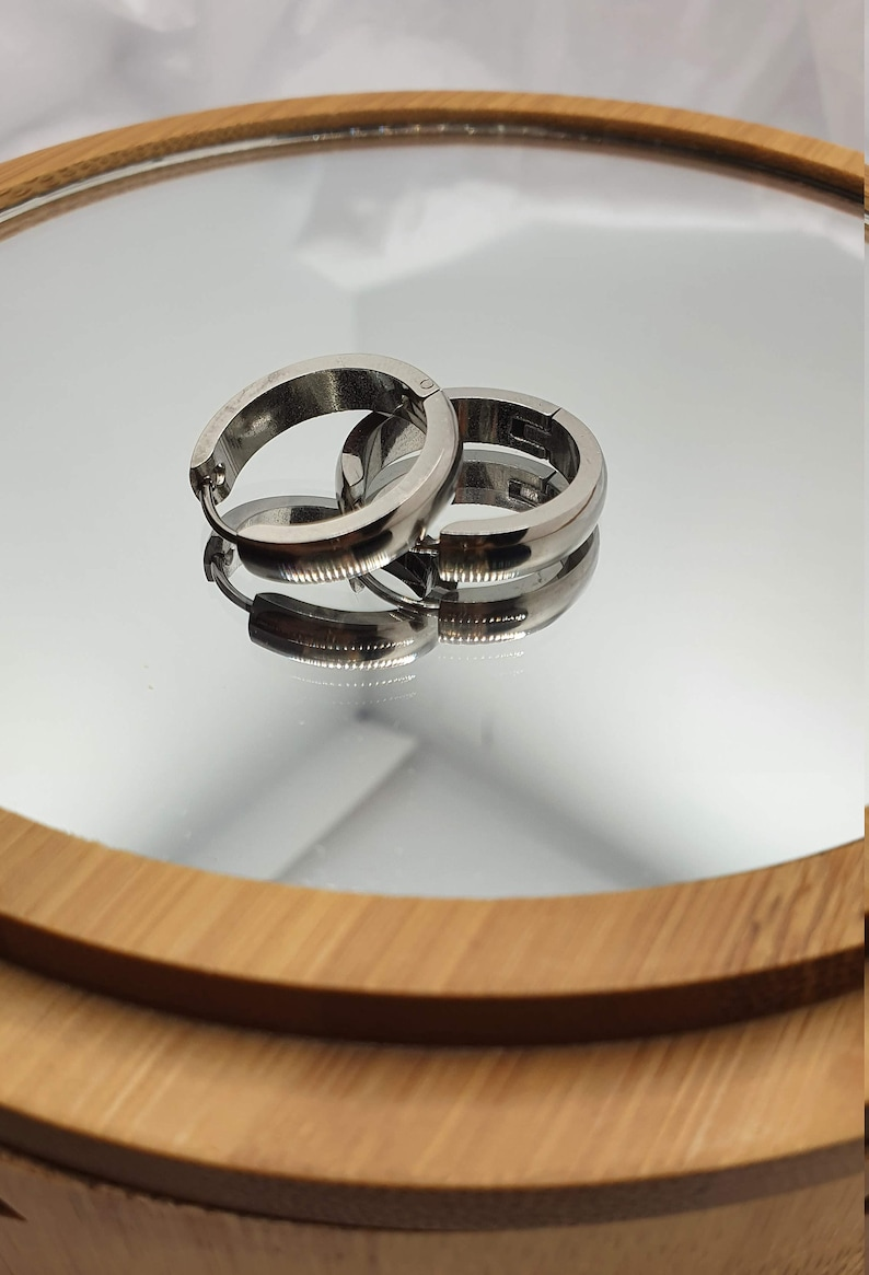 for boy and girl STEEL nice and comfortable design. Medium size Thick silver hoop pirate style