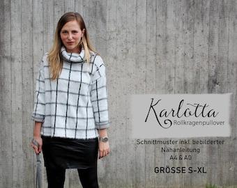 Rollkragenpullover Karlotta / Schnittmuster S-M-L-XL / Empfohlen für elastische Strickstoffe