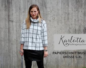Turtleneck sweater Karlotta / paper cut pattern size S-XL