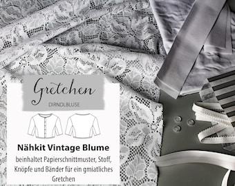 Sewing kit vintage flower / dirndl blouse Gretchen / fabric package size 34-44