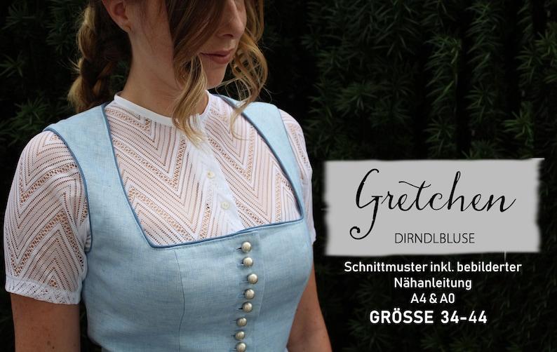 Dirndlbluse Gretchen / Digitales Schnittmuster Gr. 34-44 image 0