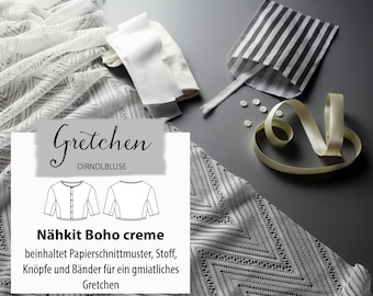Sewing kit boho cream / Dirndlbluse Gretchen / fabric package size 34-44