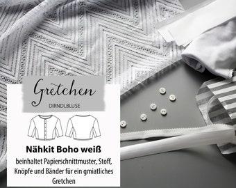 Sewing kit Boho white / Dirndlbluse Gretchen / Fabric package size 34-44