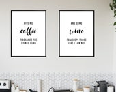 2 Wine Poster - Art Print - Give me Coffee Wine - A4 A3