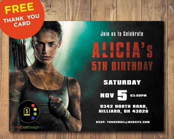 Tomb Raider Invitation Birthday
