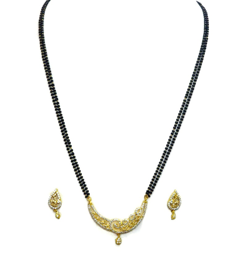 Indian American Diamond Mangalsutra Bridal Mangalsutra 24 Inches Double Black Beads Chain Mangalsutra Necklace Earrings Jewelry A32
