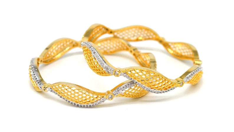 2.8  size B45 A Diamante Gold Finish Indian Bollywood Women Bracelets Bangles Gold Plated 2 pcs