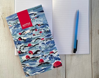 Open water swimming notebook with 64 pages of lined quality paper