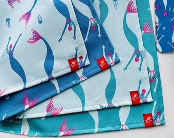Mermaid tea towels, kitchen towels. Swimming gift. Four colours. Great gift for swimmers