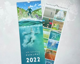 2022 Outdoor Wild Swimming calendar. Features 12 images by Andrea Hall