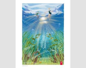 Joyful wild swim gift. Outdoor swimming art print. Oblivious