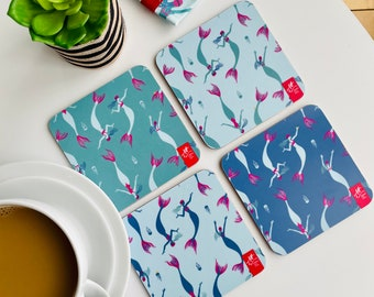Mermaid Swimming coasters. Wild swim gift. Set of four. Great gift idea for swimmers