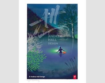 Joyful wild swimming gift. Swimming art print. Night Swimming.