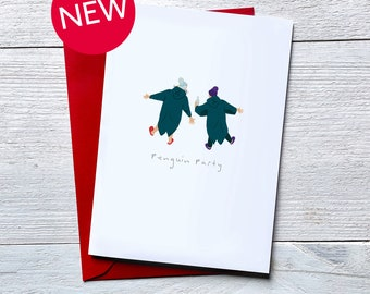 Wild swim birthday card. Penguin Party. Card for open water swimmers
