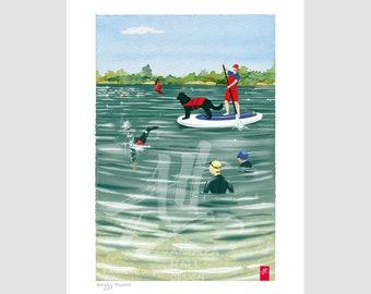 Joyful wild swim gift. Swimming art. Swim venue scene print. Paddleboard SUP