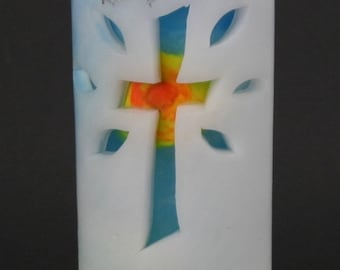 Light candle with sun for baptism