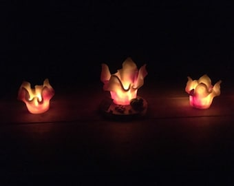 Windlight made of wax Handmade in fire colour