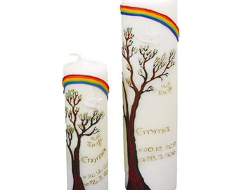 Baptismal candle set with tree of life pure handmade