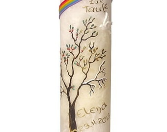 Baptism candle painted with tree of life