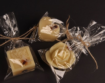 Beeswax candles in set: tree of life, rose and heart with bees