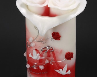 Wedding candle rose red