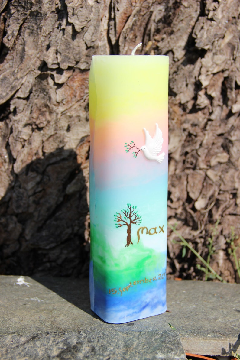 Encaustic life candle Aurora with tree motif image 0