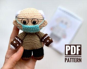 Crochet pattern Bernie Sanders doll in mittens - Amigurumi pattern Bernie's - tiny stuffed toy - Pdf tutorial in English - Instant Download