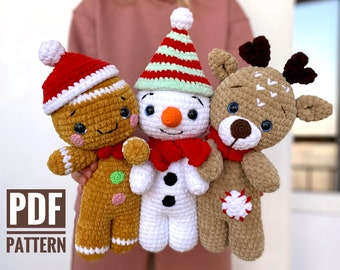 Crochet pattern DEER, GINGERBREAD and SNOWMAN Christmas bundle - Amigurumi pattern plush toy - Pdf tutorial stuffed doll - New year gift