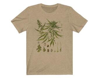 0fdc74dc Cannabis Vintage Illustration TShirt // Natural History Marijuana Cannabis  Sativa T Shirt // Science Botany StonerJersey Short Sleeve Tee //
