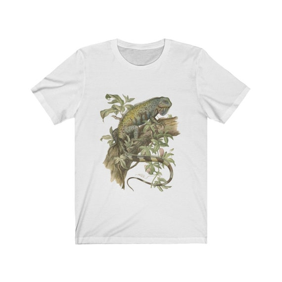Iguana Digitally Printed White Ladies Fitted T-Shirt