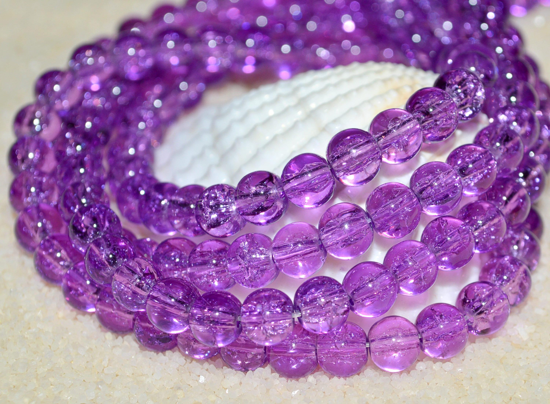 15 Crackle Glasperlen 10mm violett